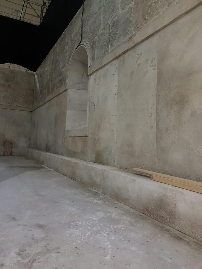 set construction for Britannia 2 that has a stone and concrete imitation finish
